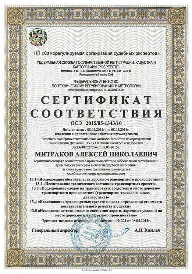 Сертификат соответствия по автотехнической экспертизе